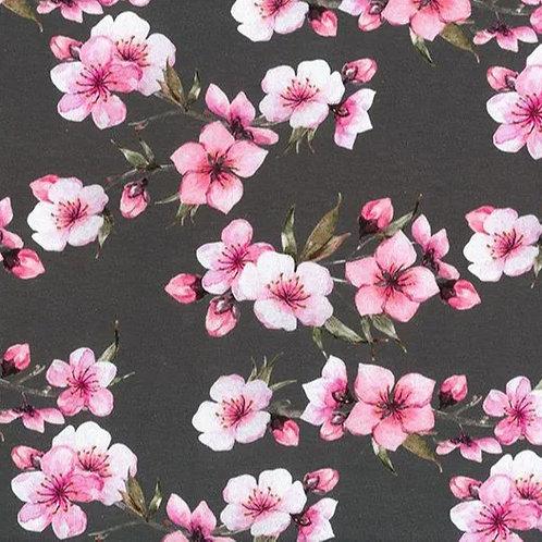 Jersey Tissu Fleurs de Cerisier sur Textile Gris
