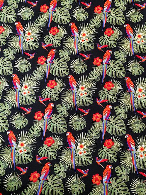 Popeline imprimé Perroquets sur fond noir
