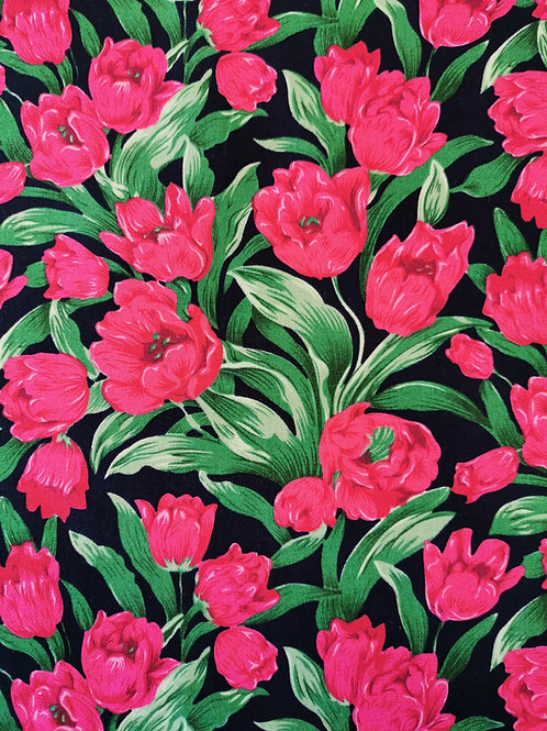 Popeline Tulipe rose fushia sur fond noir