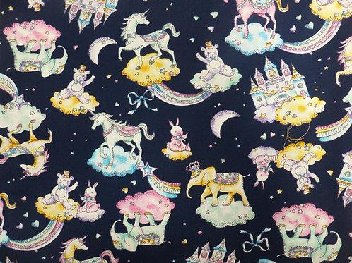 Popeline Tissu Conte de fées sur Textile Bleu Nuit