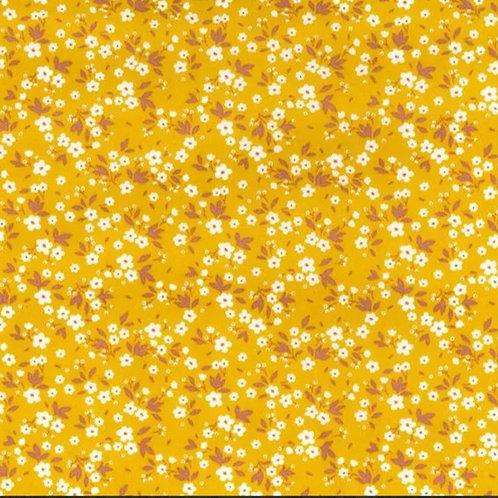 Popeline Tissu Petites Fleurs Printanières sur Textile Jaune Moutarde