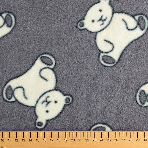 tissu polaire gris imprimé ourson vente de tissu aux ateliers d'yvonne à kerlouan en France