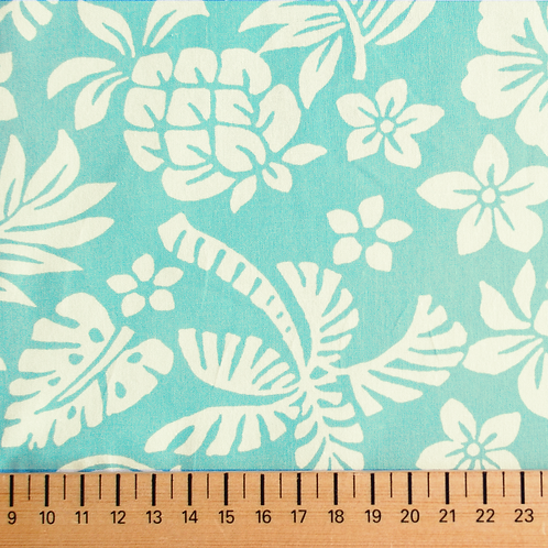 tissus matière tissu popeline bleu design tahiti AAY e-commerce à Kerlouan en France