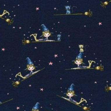 Tissu Sweat Petite sorcière textile bleu marine