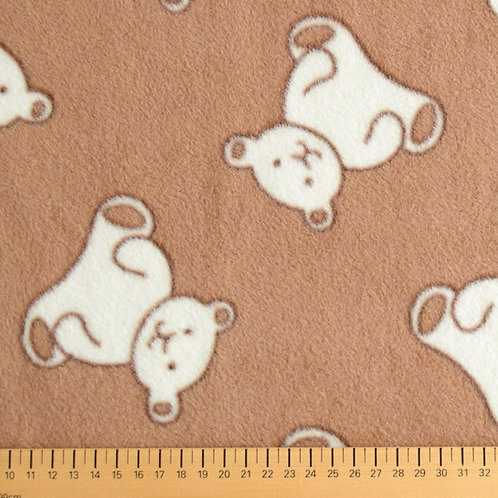 tissu polaire marron imprimé ourson vente aux ateliers d 'yvonne à kerlouan en France