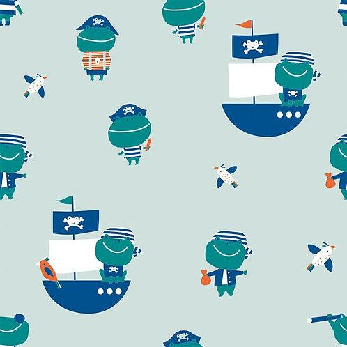 Jersey Grenouilles Pirates sur Tissu Bleu