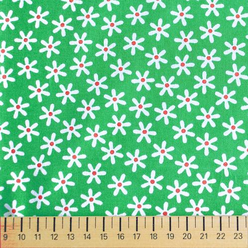 tissus matières la popeline vert fleurs des champs aay e-commerce à Kerlouan en France