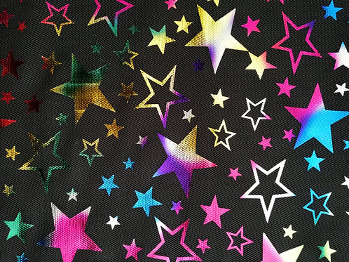 tulle imprimée d'étoiles multicouleurs vente de tissus aux ateliers d'yvonne à kerlouan en France