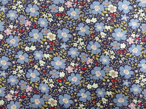 Popeline de coton Fleurs sur fond bleu marine