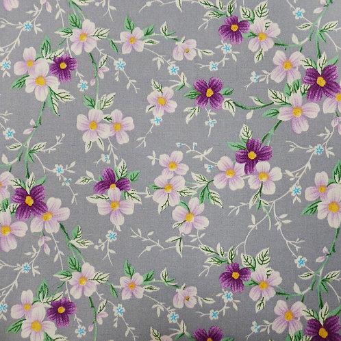 Popeline de coton Fleurs Violettes sur fond gris