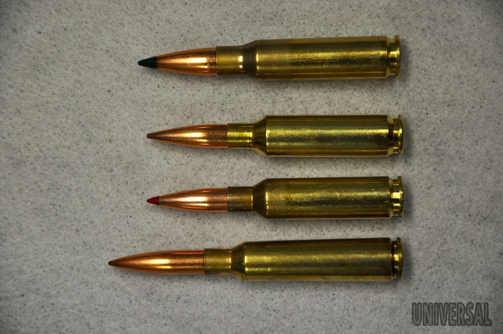 .308win se střelou Sierra TMK 175grs, 72,5mm 6,5 Creedmoor se střelou Berger 130grs AR, 71mm 6,5 Creedmoor se střelou Hornady 140grs ELD, 71mm 6,5x55 se střelou Sierra 142grs MK, 81mm