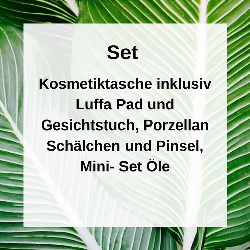 Mini- Set Öle, Kosmetiktasche & Porzellan Schälchen und Pinsel