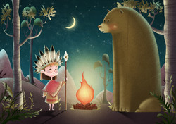 little indian and bear