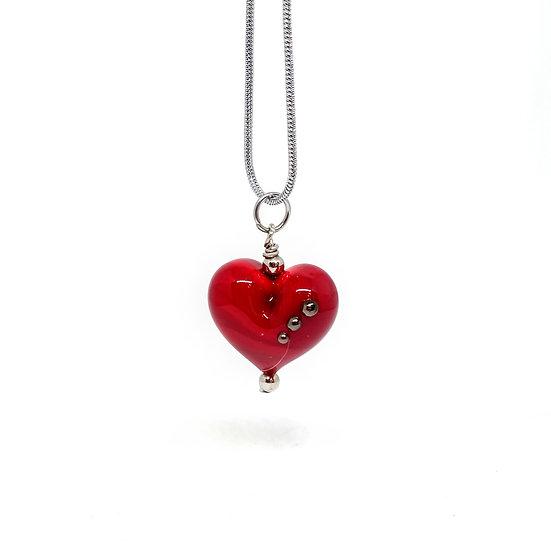 pendentif coeur R  points noir métalisés