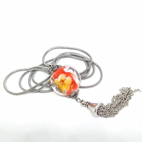 Sautoir fleur orange