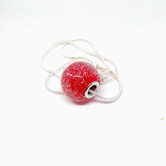Perle pailletée rouge