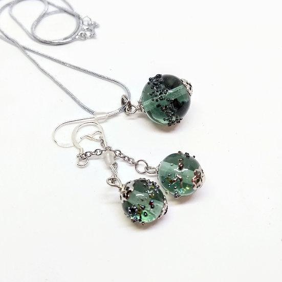 Parure Luna  gris /vert