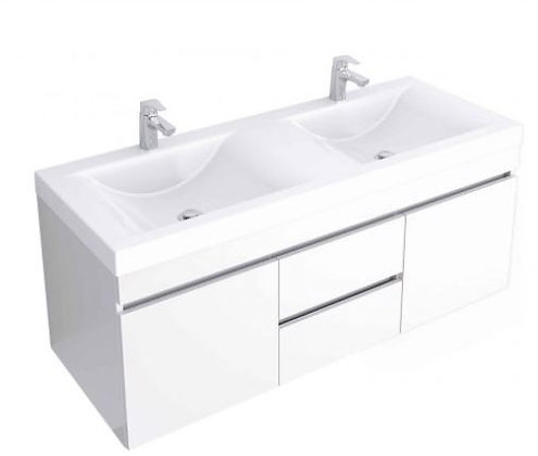 Mueble de baño en combo- Lavamanos Siena doble+ Mueble Viteli Gold 124x48