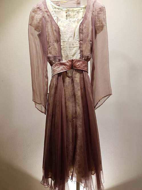 Robe coton écru, robe vieux rose.