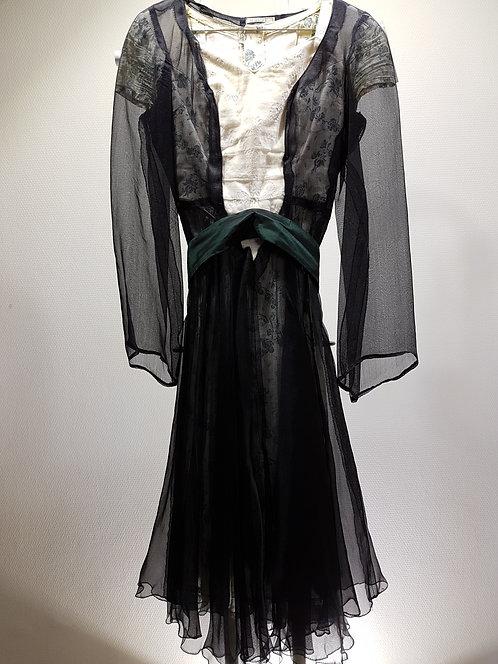 Robe coton écru Fleurs Gris/vert