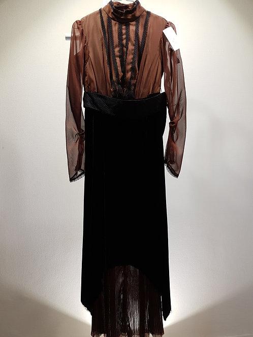 Robe style 1900 soie voile Chocolat