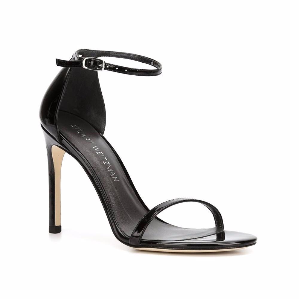Stuart Weitzman Black patent leather Nudistsong sandals