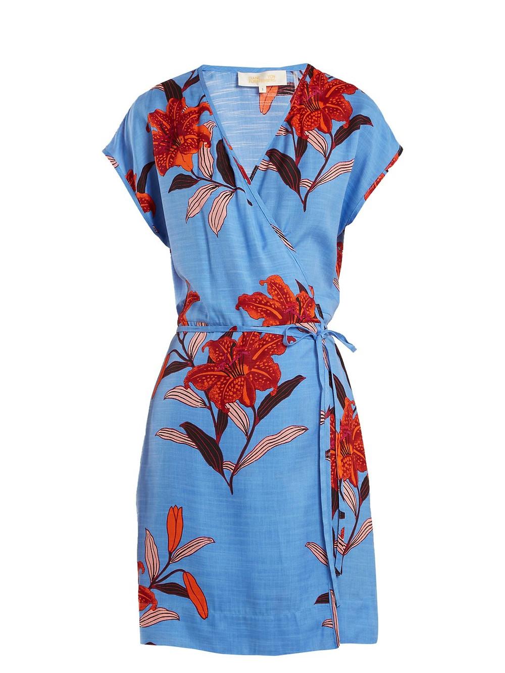 DVF Floral-print V-neck silk-blend wrap dress