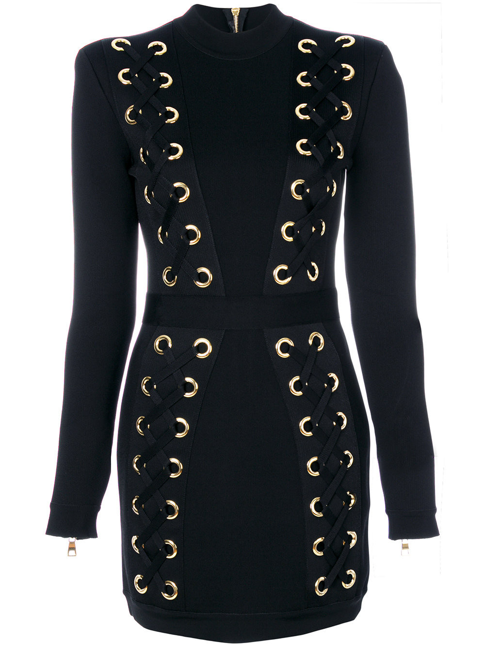 balmain embroidered fitted dress