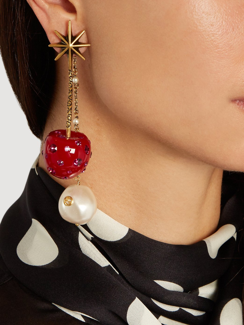Gucci Cherry and pearl crystal-embellished earrings
