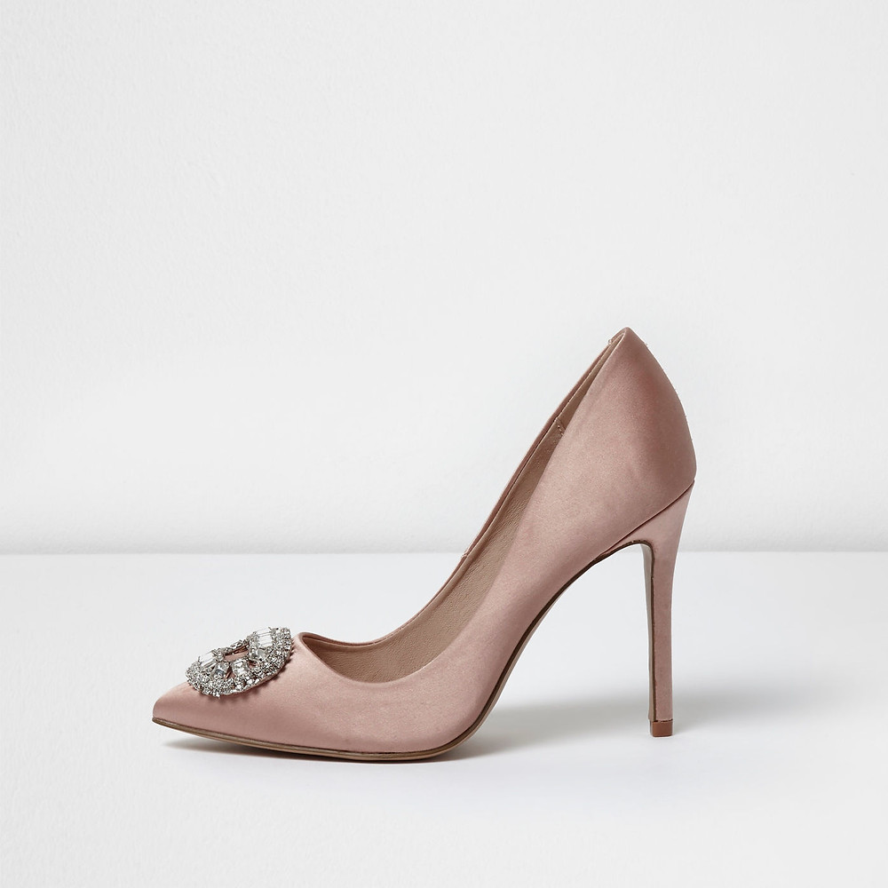 river island Light pink satin embellished court shoes