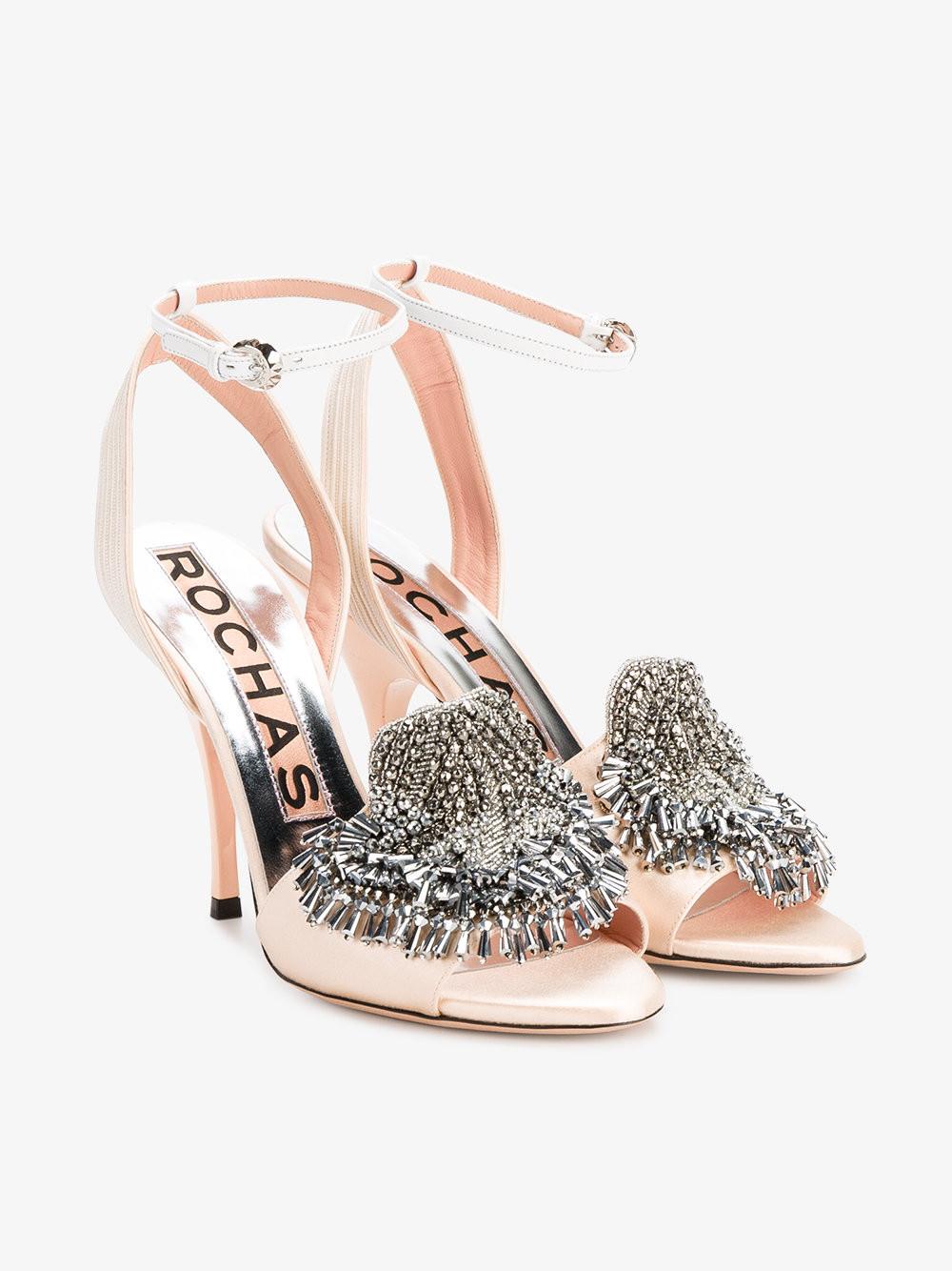 Rochas Mid-Heel Satin Open-Toe Pumps With Crystal Embellishment