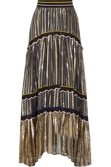 Silk blend-trimmed metallic chiffon maxi skirt