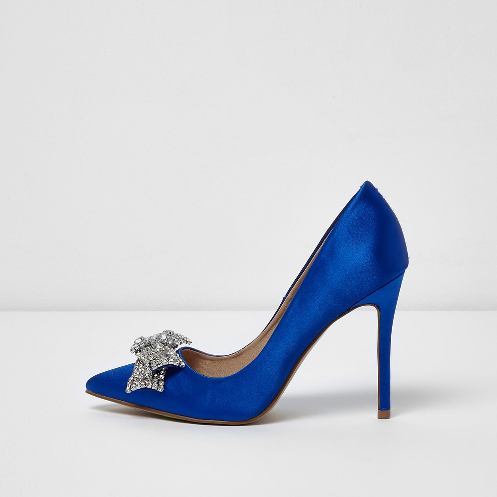 river island Blue satin diamante bow court shoes