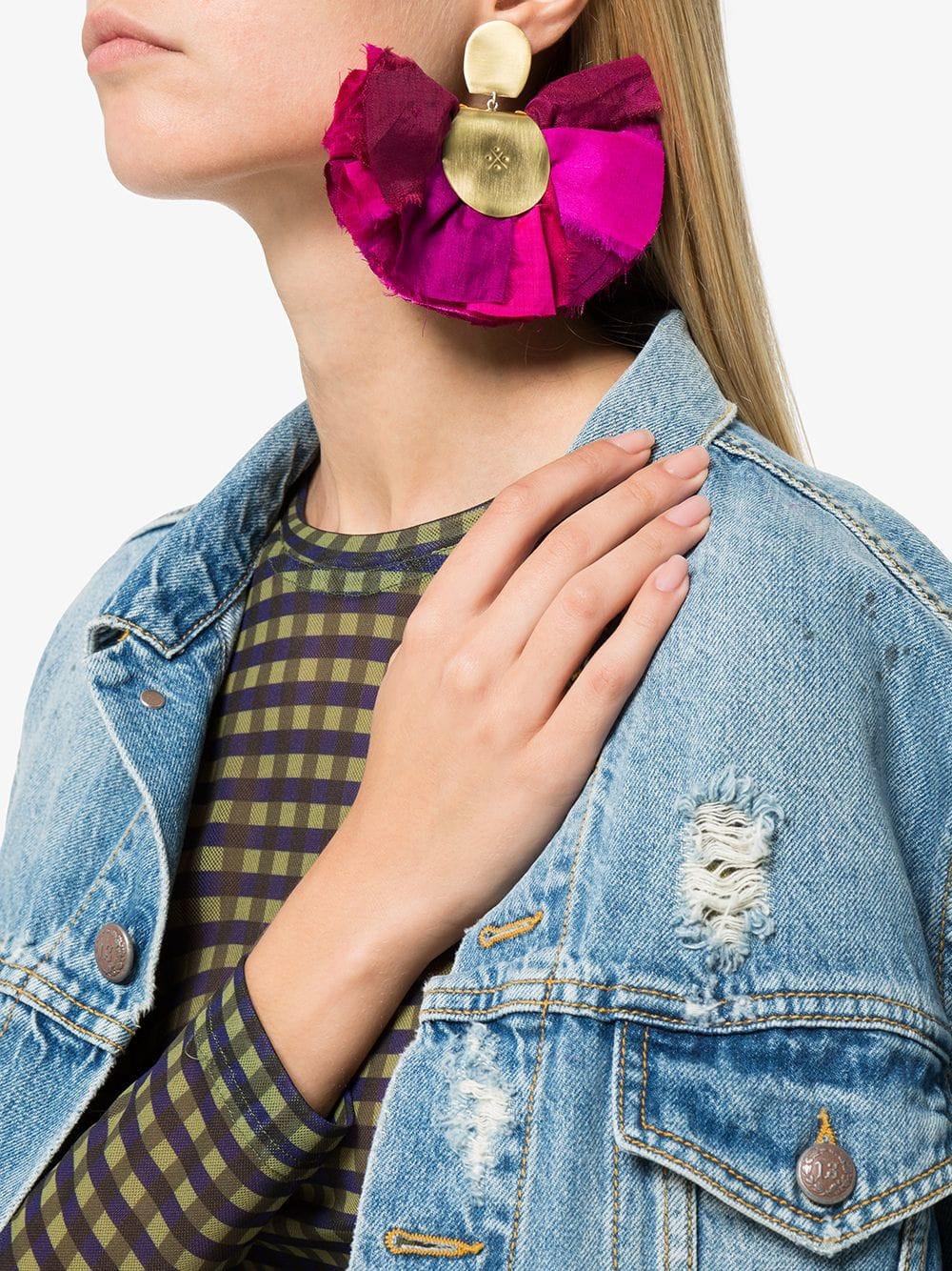 Katerina Makriyianni Purple Hand Fan Silk And Silver Earrings