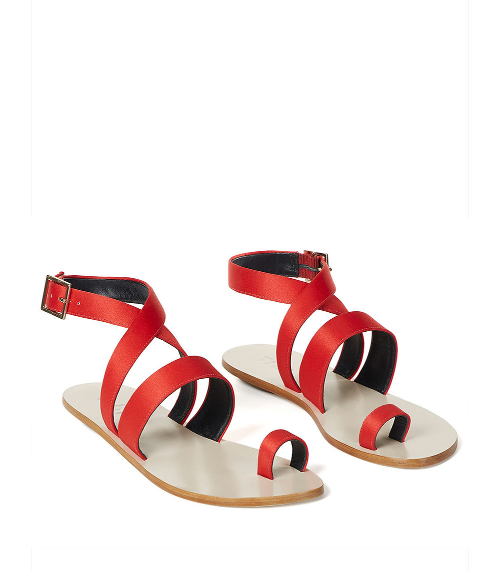 tibi hallie sandals in crimson rose