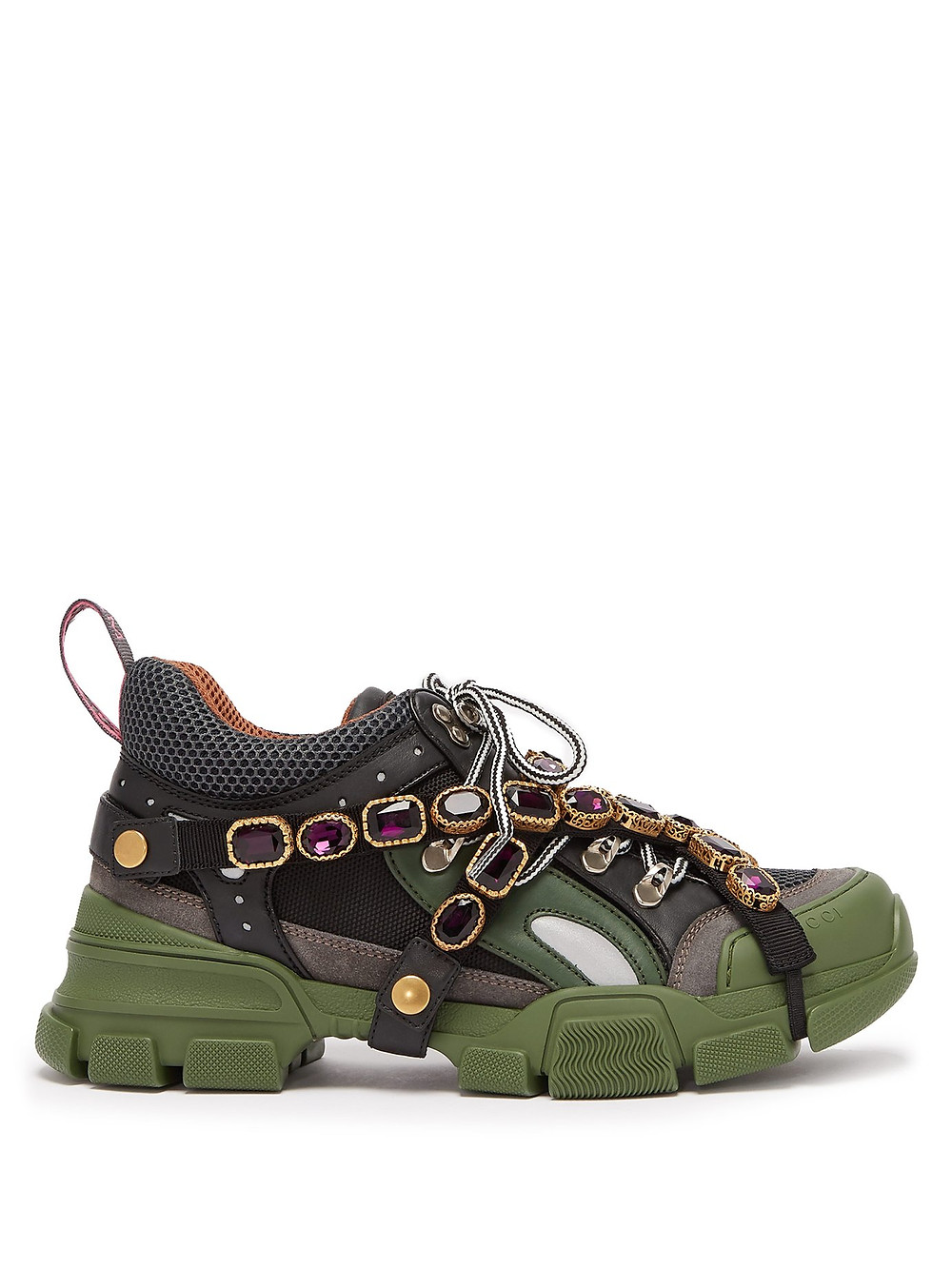 Gucci Flashtrek crystal-embellished low-top trainers khaki green