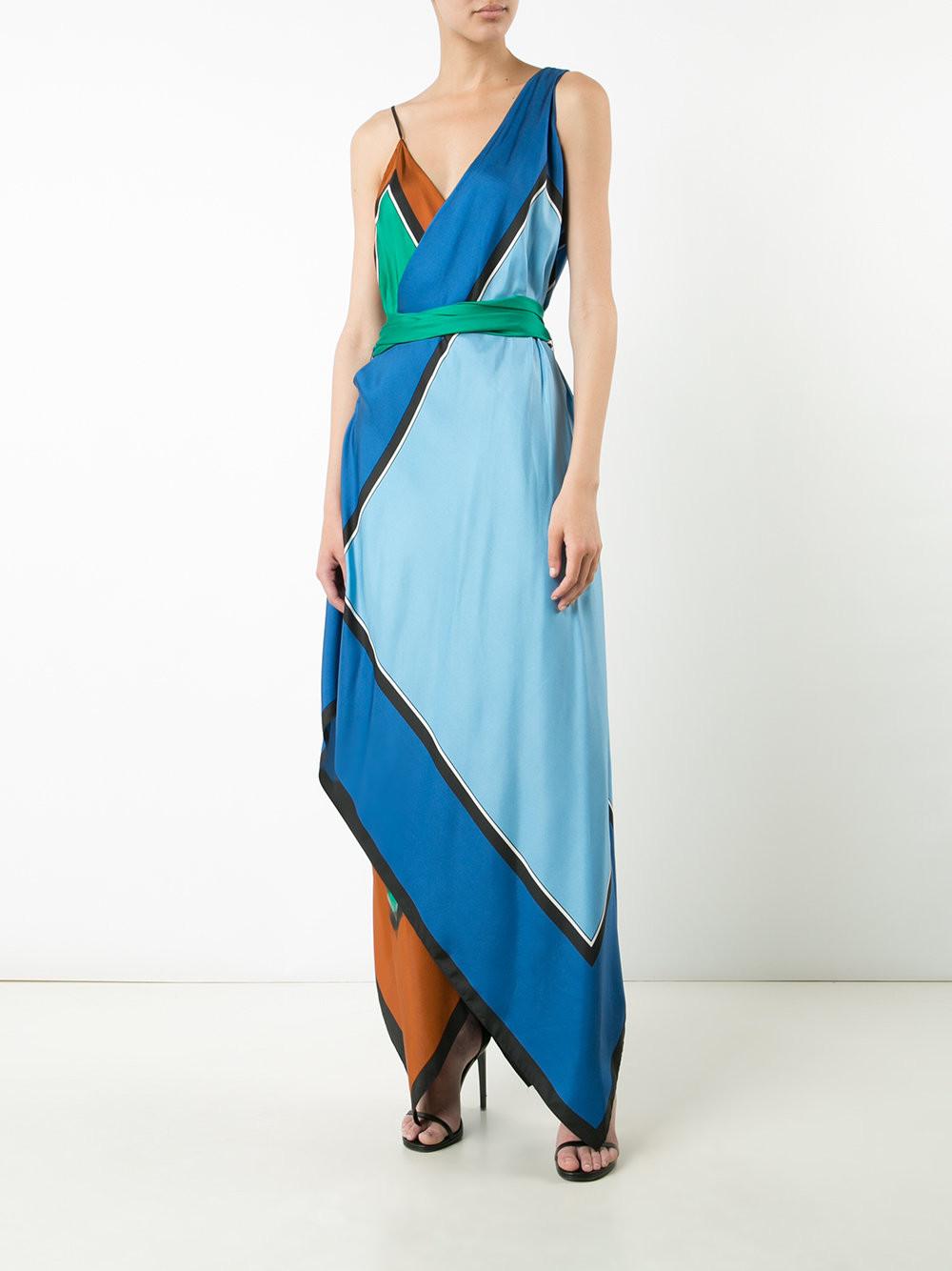 DIANE VON FURSTENBERG  v-neck asymmetric dress