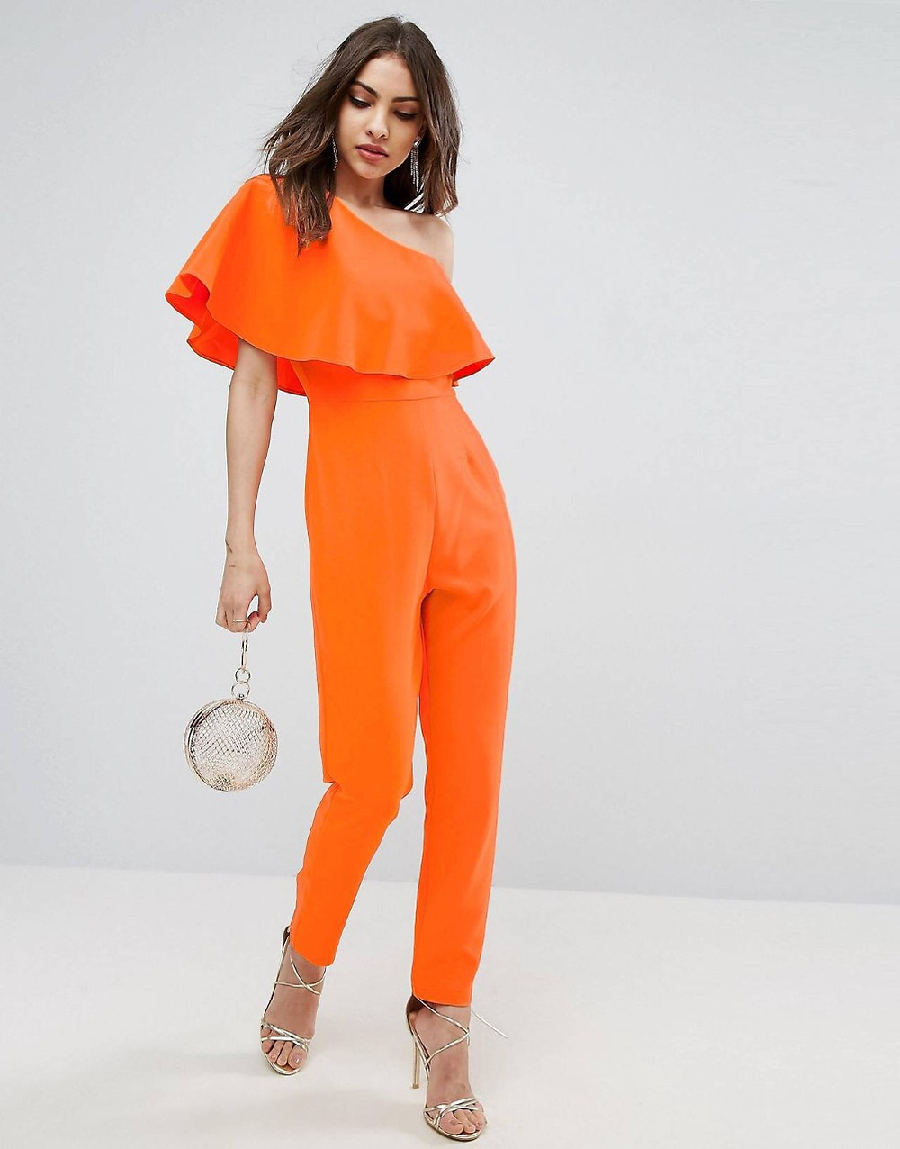 asos orange one shoulder ruffle jumpsuit