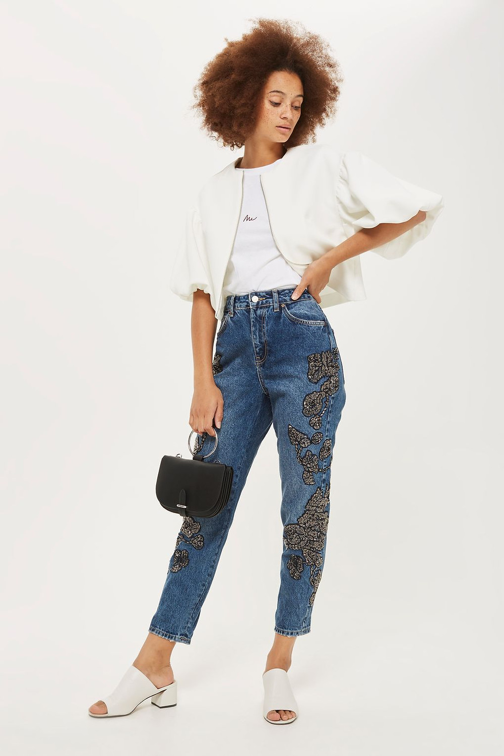 Limited Edition MOTO Beaded Mom Jeans