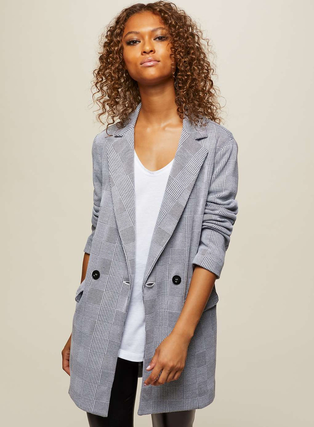 Miss Selfridge Checked Longline Blazer