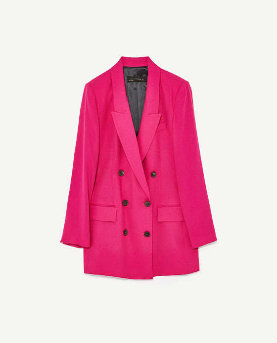 zara double breasted jacket in hot pink