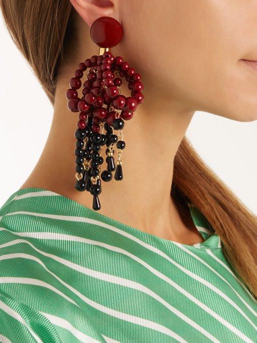 Marni Bead-embellished clip-on earringsLong Dress