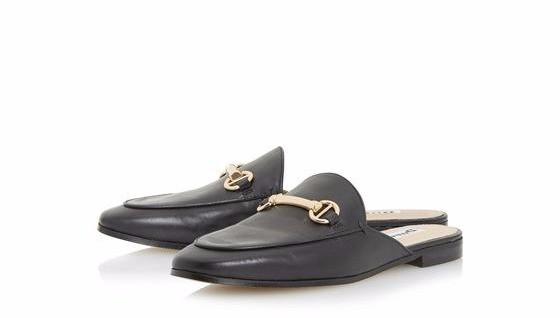 Dune London GENE Metal Saddle Trim Backless Loafer Shoe