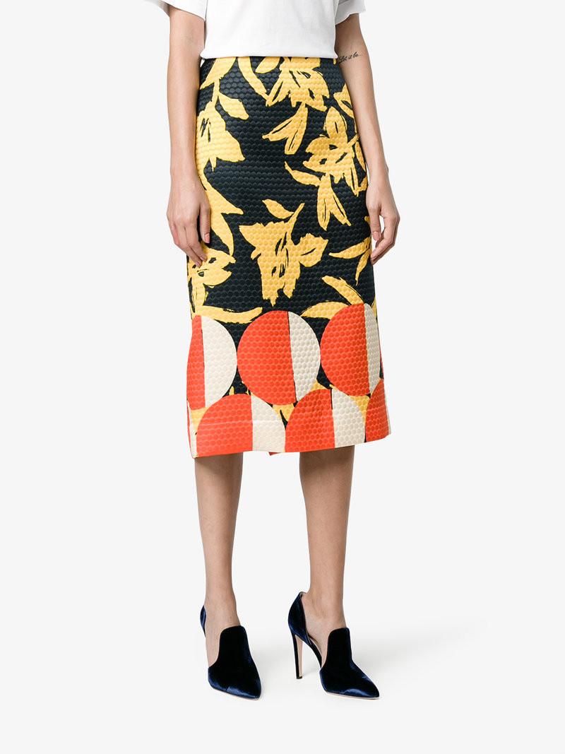 Dries Van Noten Shine Printed Pencil Skirt