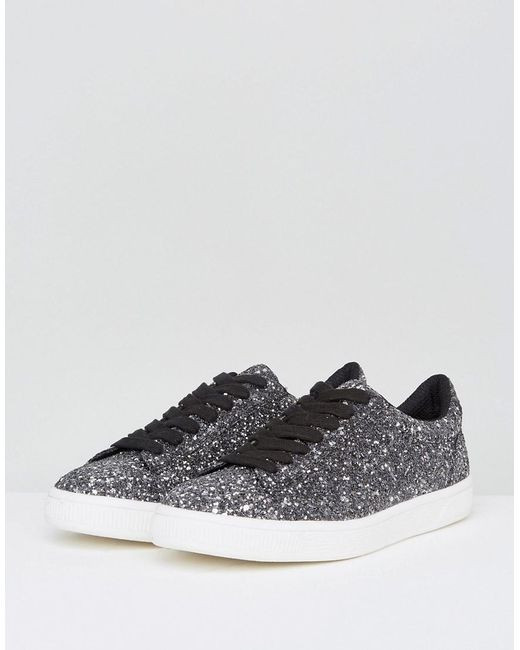 New Look Glitter Lace Up Trainer