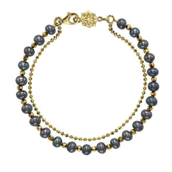18ct Gold Vermeil & Peacock Pearl Orissa Bracelet