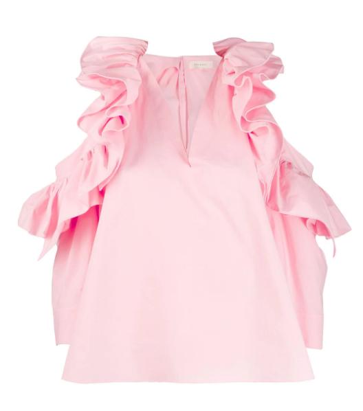 Delpozo frill trim poplin blouse