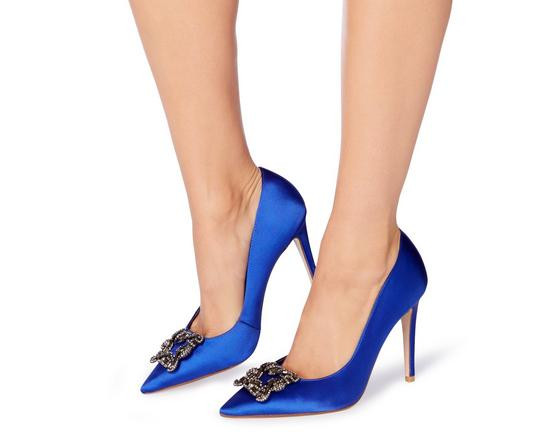 dune london Breanna Jewelled Square Brooch Pointed Toe Court Shoe in Blue