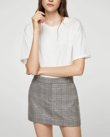 Mango Prince of Wales wool-blend skirt