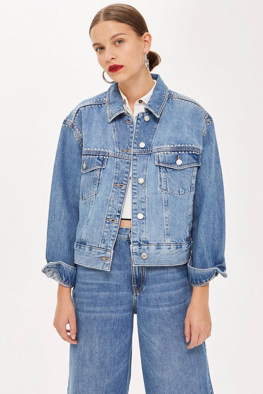 Studded Oversized Denim Jacket